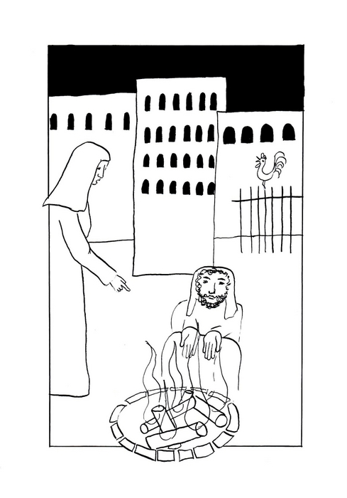 """Petr zapírá Ježíše . """"Dříve než kohout zakokrhá, třikrát mě zapřeš"""" / Velikonoce"""