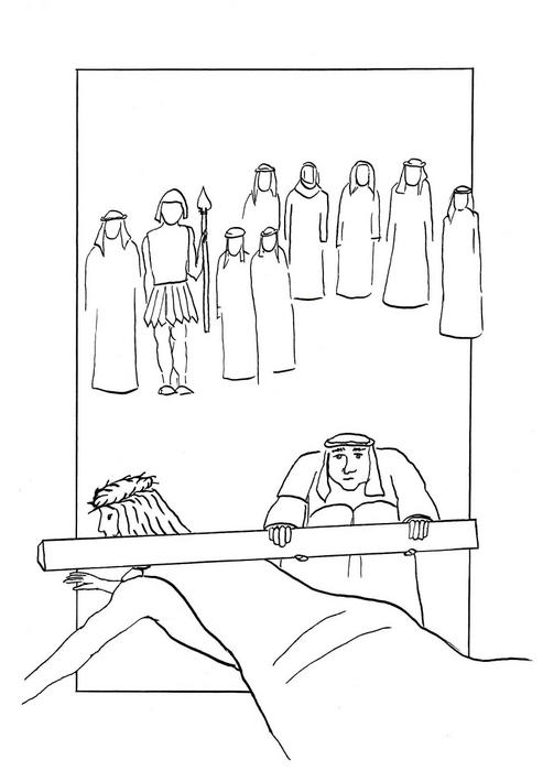 Šimon z Kyrény pomáhá Ježíši nést kříž /  Velikonoce