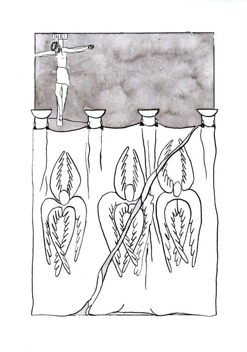 Opona v jeruzalémském chrámu se roztrhla / Velikonoce