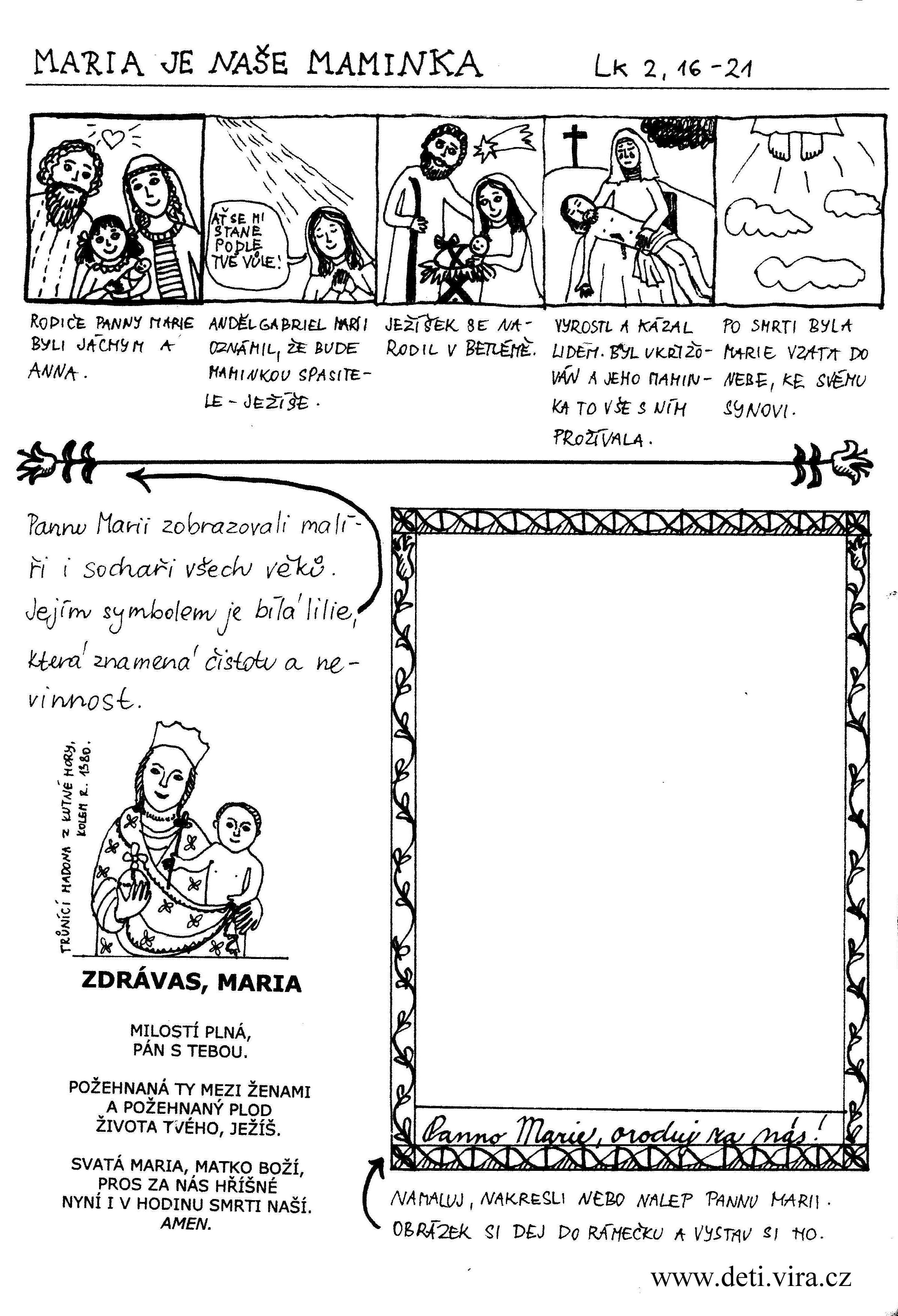 pracovní list o Panně Marii