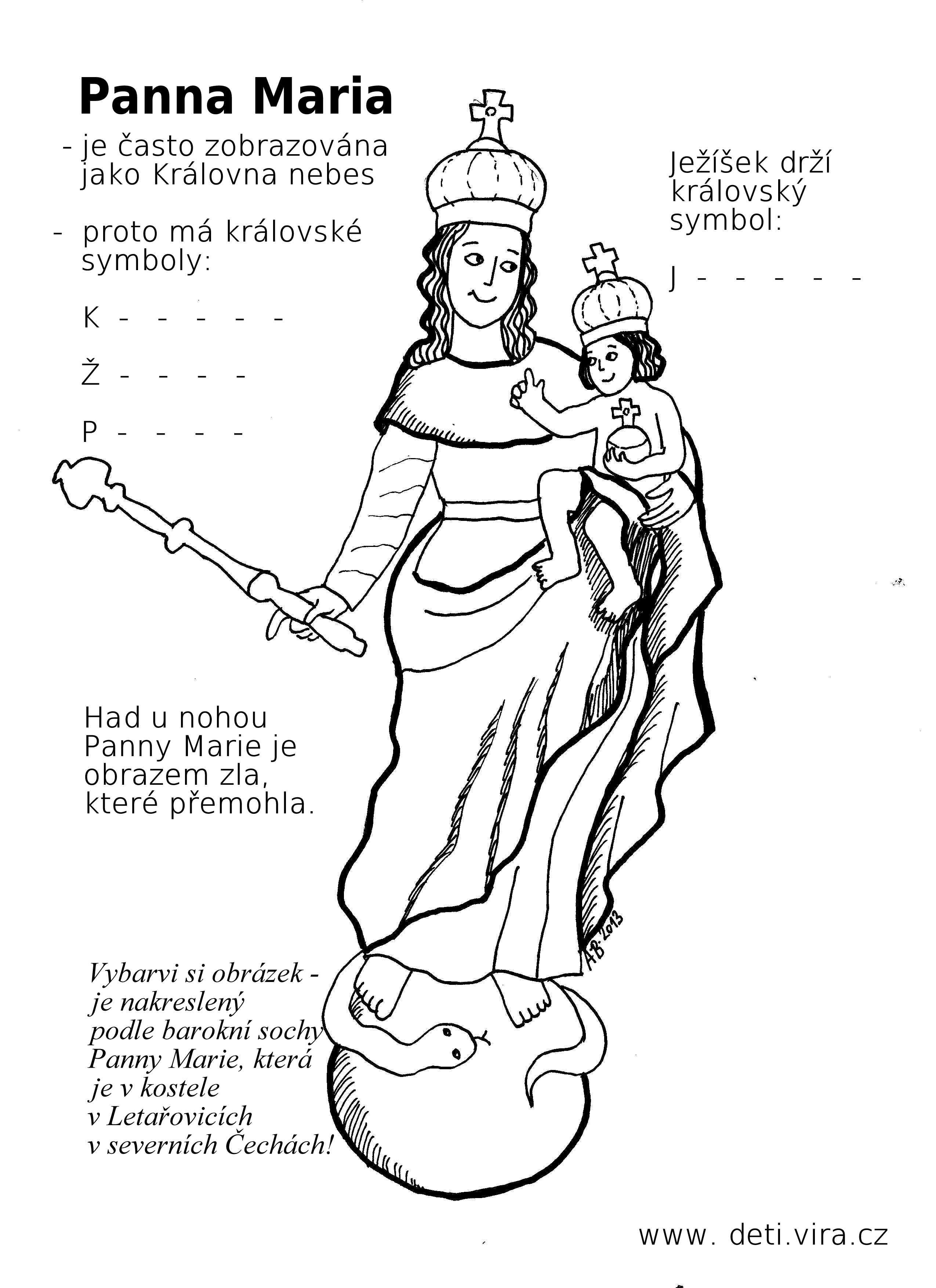omalovánka s doplňovačkou - Panna Maria