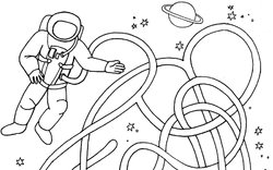 astronaut kosmonaut - bludiště a omalovánka  / International Day of Human Space Flight  - coloring book