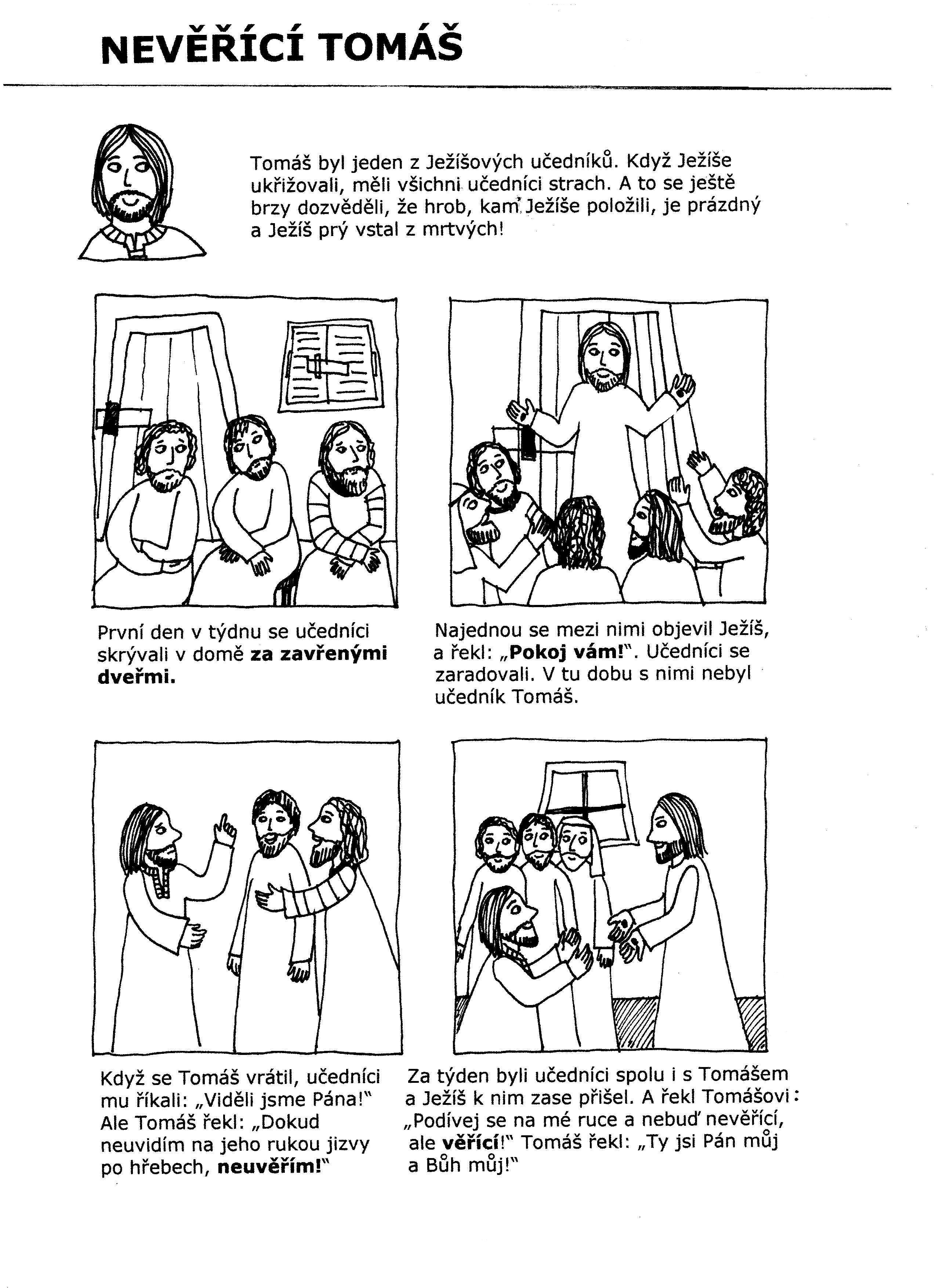 Nevěřící Tomáš - příběh k přečtení i vybarvení