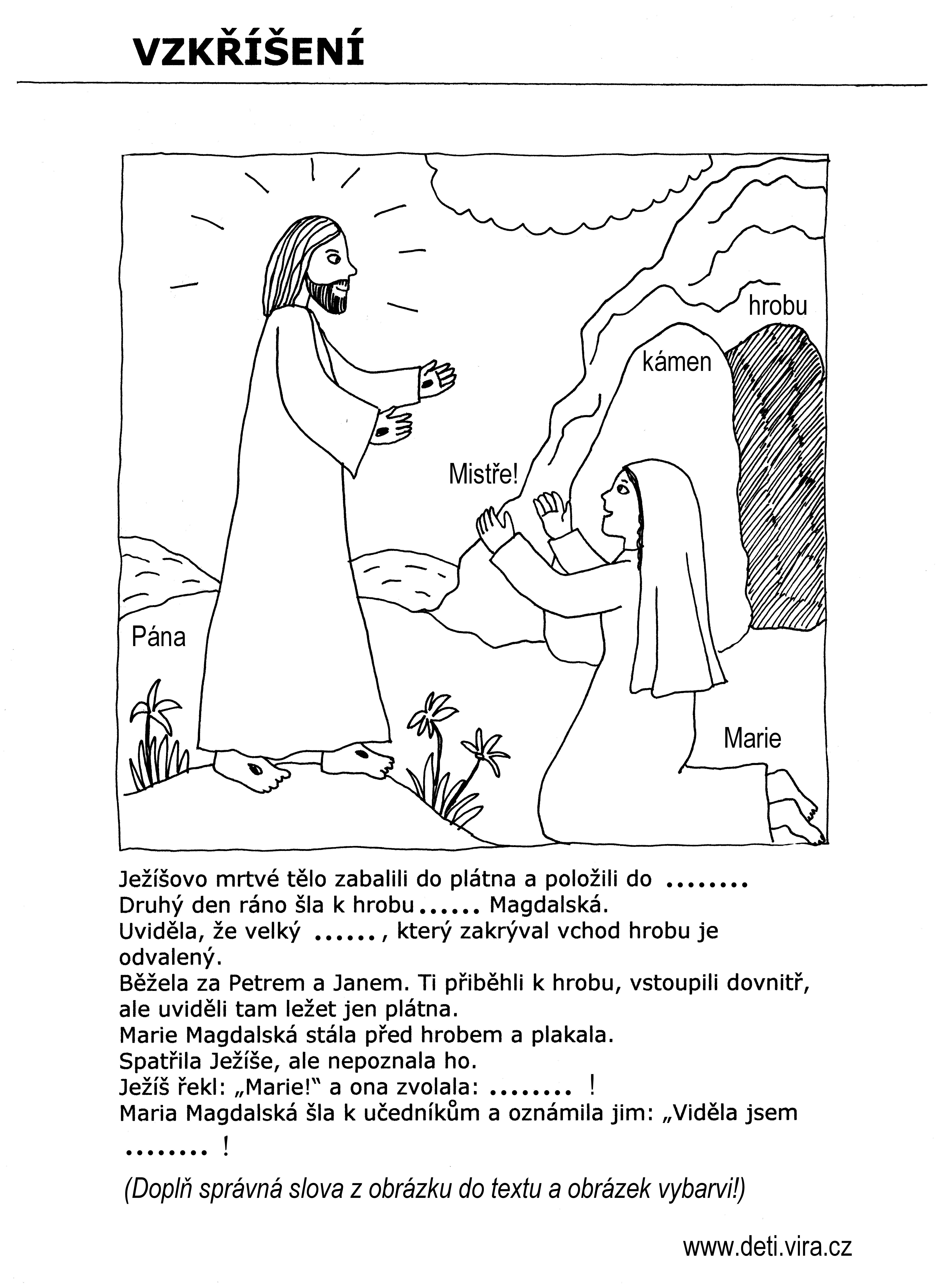 Vzkříšení - doplň správná slova